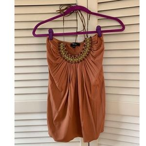 Amazing beaded detailed top with leather straps